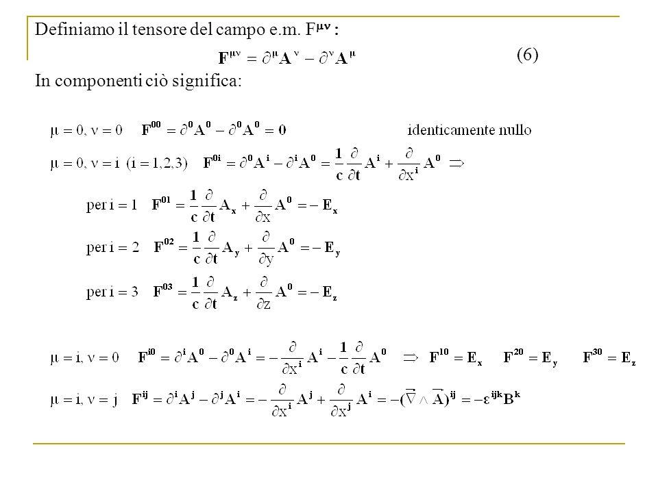 Definiamo il tensore del campo e.m. F In componenti ciò significa: (6)
