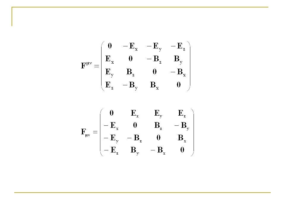 Infatti la (7) in componenti significa: La I e la IV equazione di Maxwell possono essere riassunte in forma relativisticamente covariante nel modo seguente:
