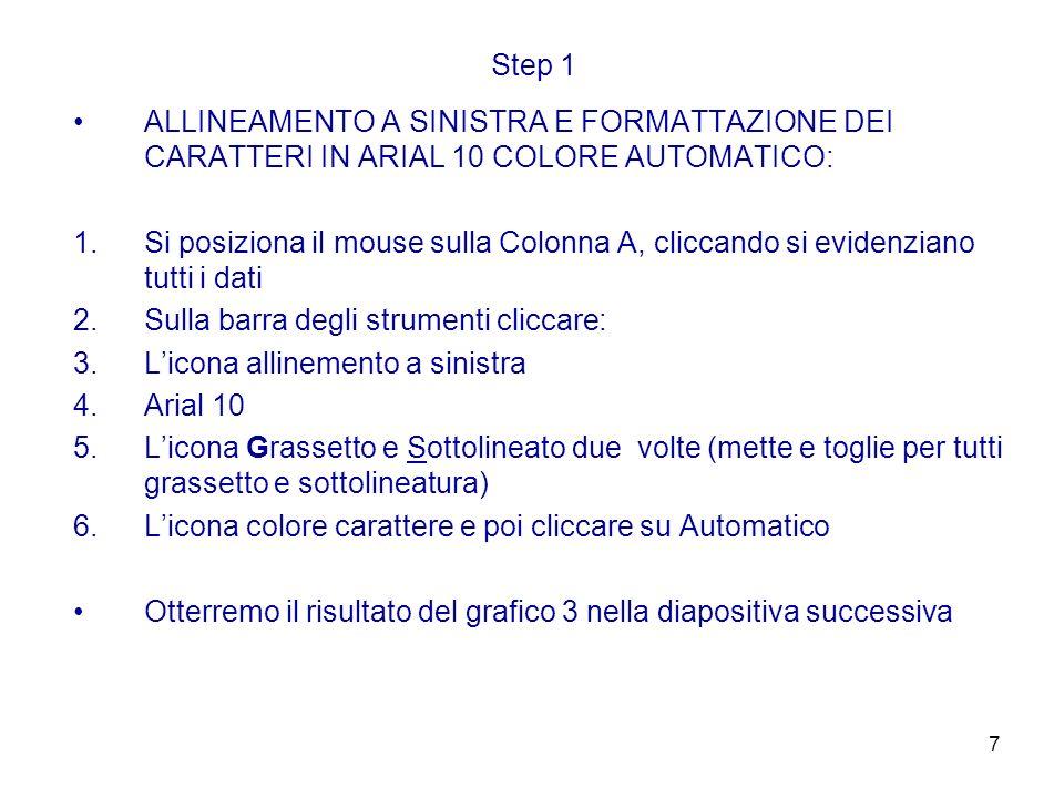 7 Step 1 ALLINEAMENTO A SINISTRA E FORMATTAZIONE DEI CARATTERI IN ARIAL 10 COLORE AUTOMATICO: 1.Si posiziona il mouse sulla Colonna A, cliccando si ev