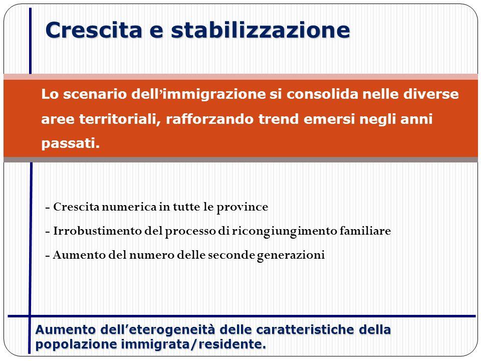 Crescita e stabilizzazione Lo scenario dell immigrazione si consolida nelle diverse aree territoriali, rafforzando trend emersi negli anni passati. -