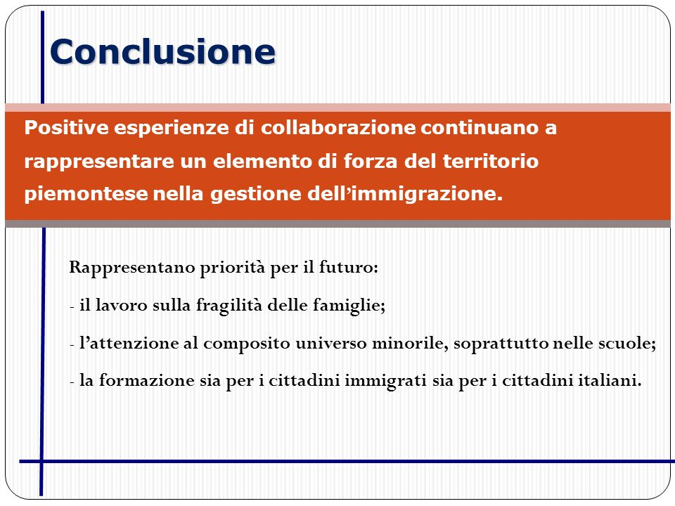 Conclusione Rappresentano priorità per il futuro: - il lavoro sulla fragilità delle famiglie; - lattenzione al composito universo minorile, soprattutto nelle scuole; - la formazione sia per i cittadini immigrati sia per i cittadini italiani.