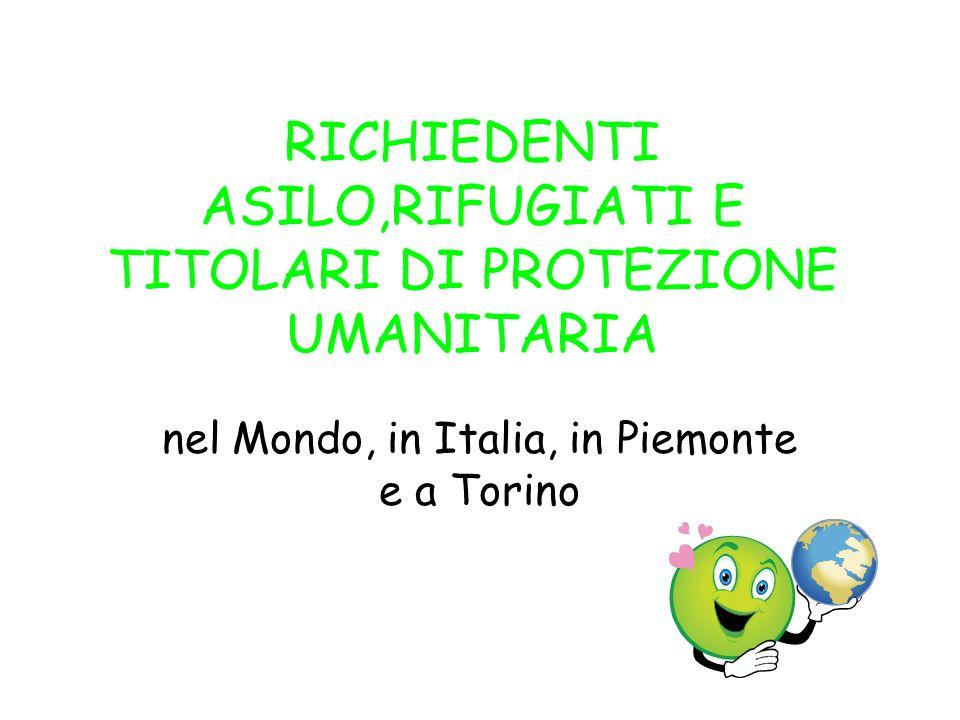 RICHIEDENTI ASILO,RIFUGIATI E TITOLARI DI PROTEZIONE UMANITARIA nel Mondo, in Italia, in Piemonte e a Torino