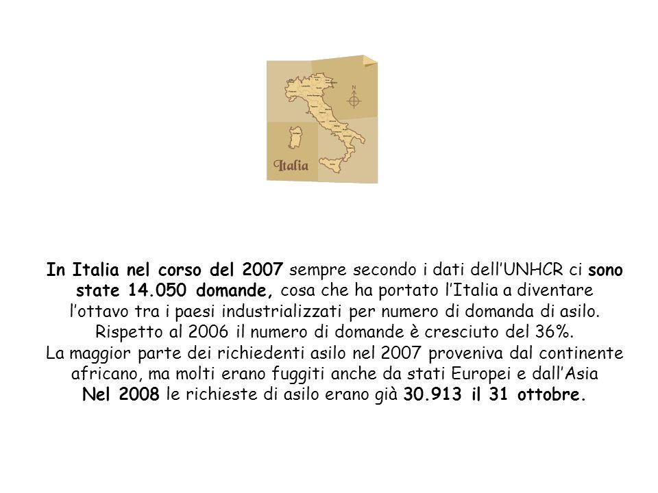 In Italia nel corso del 2007 sempre secondo i dati dellUNHCR ci sono state 14.050 domande, cosa che ha portato lItalia a diventare lottavo tra i paesi