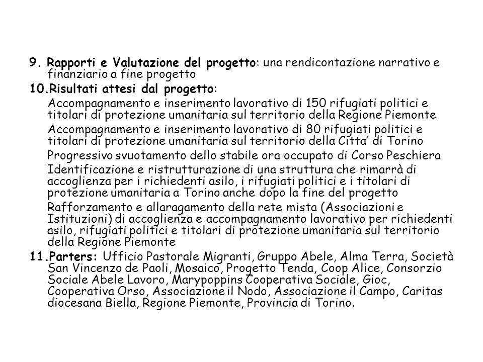9. Rapporti e Valutazione del progetto: una rendicontazione narrativo e finanziario a fine progetto 10.Risultati attesi dal progetto: Accompagnamento