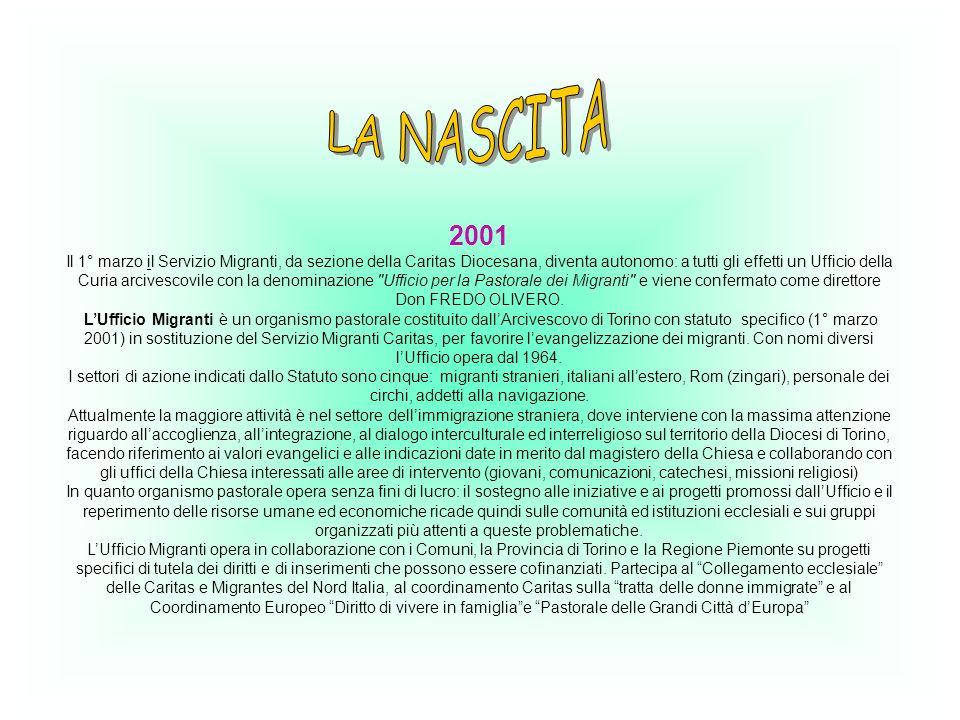 2001 Il 1° marzo il Servizio Migranti, da sezione della Caritas Diocesana, diventa autonomo: a tutti gli effetti un Ufficio della Curia arcivescovile con la denominazione Ufficio per la Pastorale dei Migranti e viene confermato come direttore Don FREDO OLIVERO.