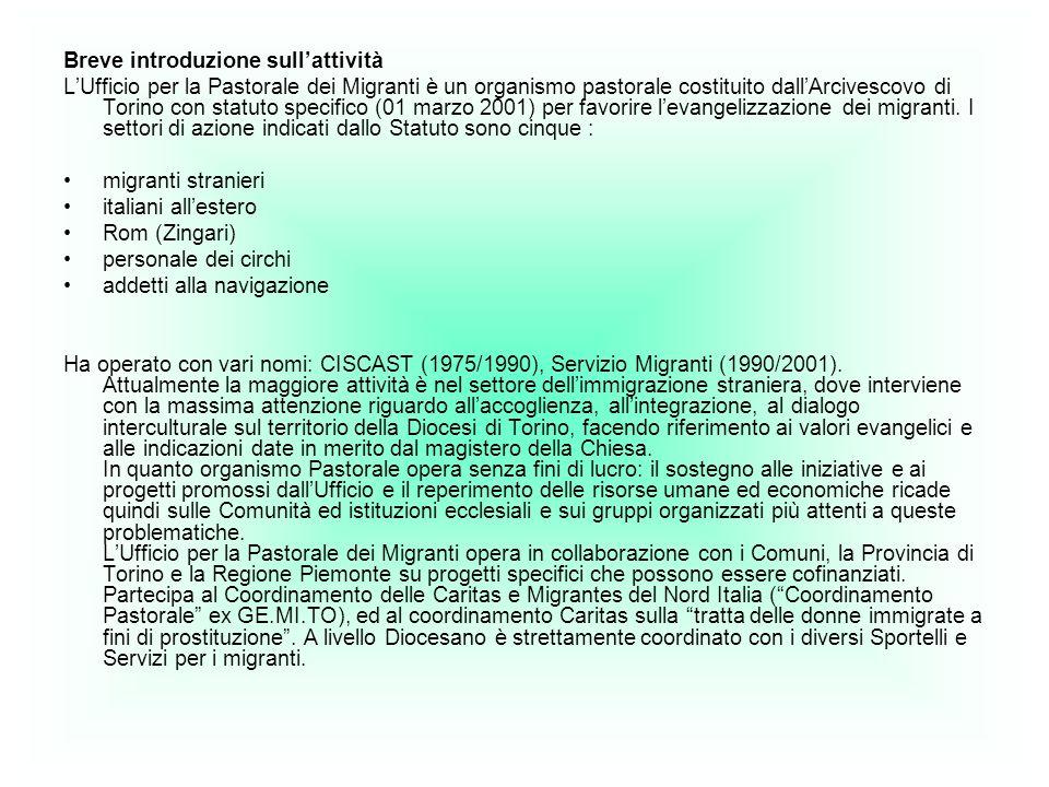 Breve introduzione sullattività LUfficio per la Pastorale dei Migranti è un organismo pastorale costituito dallArcivescovo di Torino con statuto specifico (01 marzo 2001) per favorire levangelizzazione dei migranti.