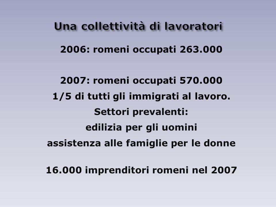 2006: romeni occupati 263.000 2007: romeni occupati 570.000 1/5 di tutti gli immigrati al lavoro.