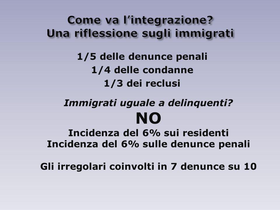 1/5 delle denunce penali 1/4 delle condanne 1/3 dei reclusi Immigrati uguale a delinquenti.