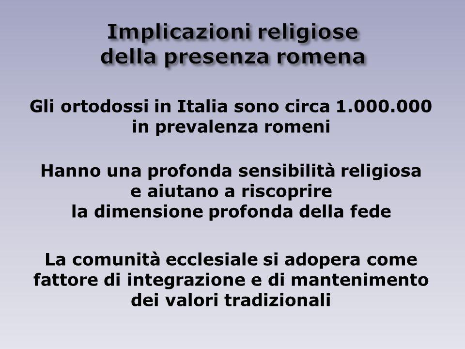 Gli ortodossi in Italia sono circa 1.000.000 in prevalenza romeni Hanno una profonda sensibilità religiosa e aiutano a riscoprire la dimensione profonda della fede La comunità ecclesiale si adopera come fattore di integrazione e di mantenimento dei valori tradizionali