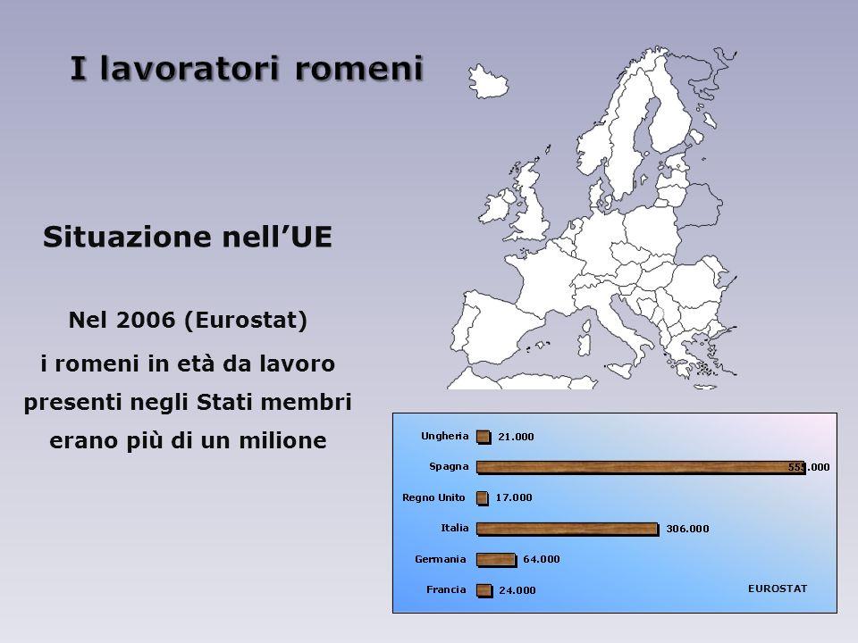 Situazione nellUE Nel 2006 (Eurostat) i romeni in età da lavoro presenti negli Stati membri erano più di un milione EUROSTAT
