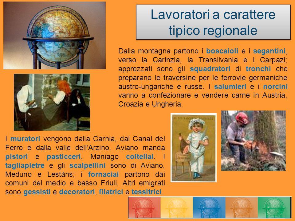 Lavoratori a carattere tipico regionale I muratori vengono dalla Carnia, dal Canal del Ferro e dalla valle dellArzino. Aviano manda pistori e pasticce