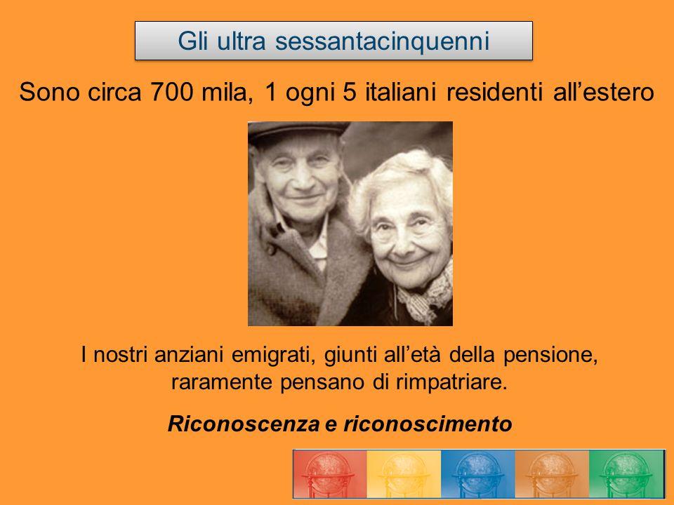 Sono circa 700 mila, 1 ogni 5 italiani residenti allestero I nostri anziani emigrati, giunti alletà della pensione, raramente pensano di rimpatriare.