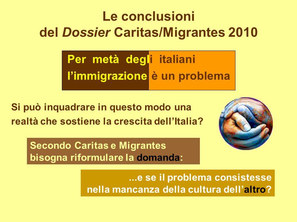 Le conclusioni del Dossier Caritas/Migrantes 2010 Per metà degli italiani limmigrazione è un problema Si può inquadrare in questo modo una realtà che sostiene la crescita dellItalia.