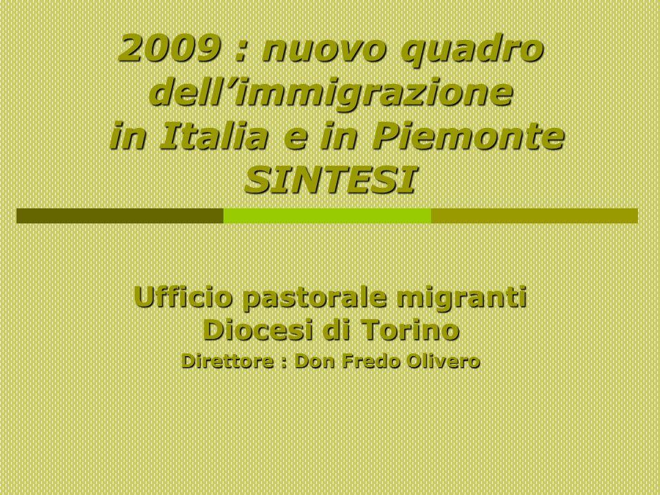 2009 : nuovo quadro dellimmigrazione in Italia e in Piemonte SINTESI Ufficio pastorale migranti Diocesi di Torino Direttore : Don Fredo Olivero