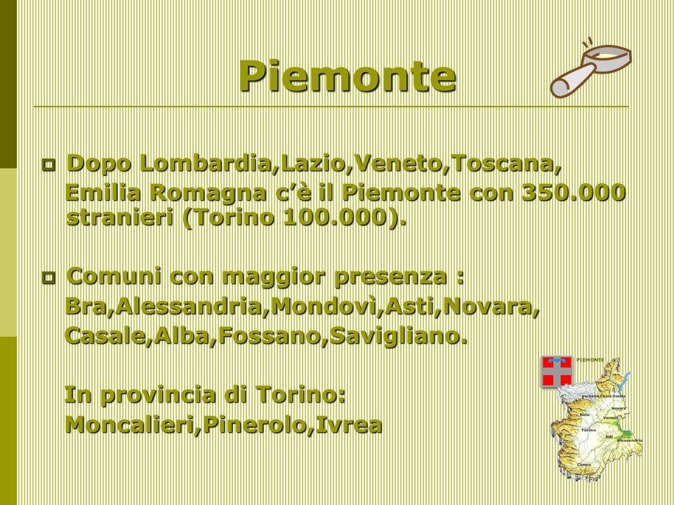 Piemonte Dopo Lombardia,Lazio,Veneto,Toscana, Dopo Lombardia,Lazio,Veneto,Toscana, Emilia Romagna cè il Piemonte con 350.000 stranieri (Torino 100.000).