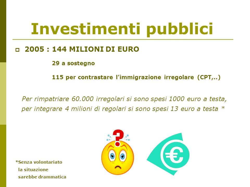 Investimenti pubblici 2005 : 144 MILIONI DI EURO 29 a sostegno 115 per contrastare limmigrazione irregolare (CPT,..) Per rimpatriare 60.000 irregolari si sono spesi 1000 euro a testa, per integrare 4 milioni di regolari si sono spesi 13 euro a testa * *Senza volontariato la situazione sarebbe drammatica