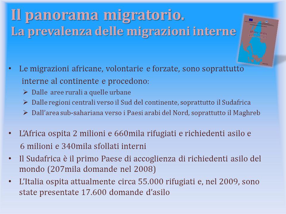 Il panorama migratorio. La prevalenza delle migrazioni interne Le migrazioni africane, volontarie e forzate, sono soprattutto interne al continente e