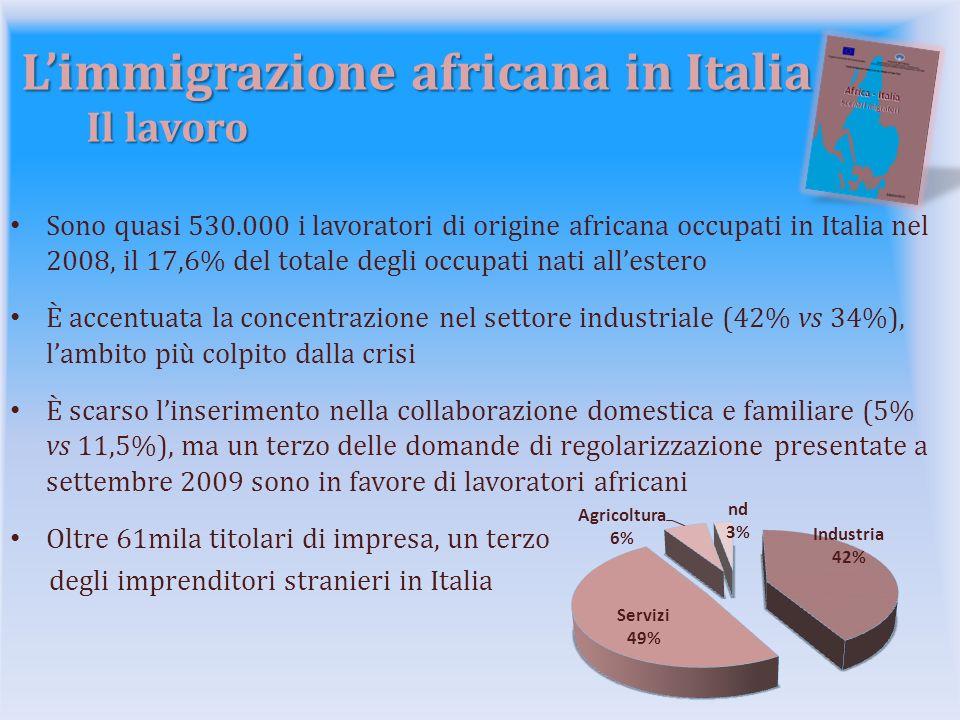 Limmigrazione africana in Italia Il lavoro Sono quasi 530.000 i lavoratori di origine africana occupati in Italia nel 2008, il 17,6% del totale degli occupati nati allestero È accentuata la concentrazione nel settore industriale (42% vs 34%), lambito più colpito dalla crisi È scarso linserimento nella collaborazione domestica e familiare (5% vs 11,5%), ma un terzo delle domande di regolarizzazione presentate a settembre 2009 sono in favore di lavoratori africani Oltre 61mila titolari di impresa, un terzo degli imprenditori stranieri in Italia