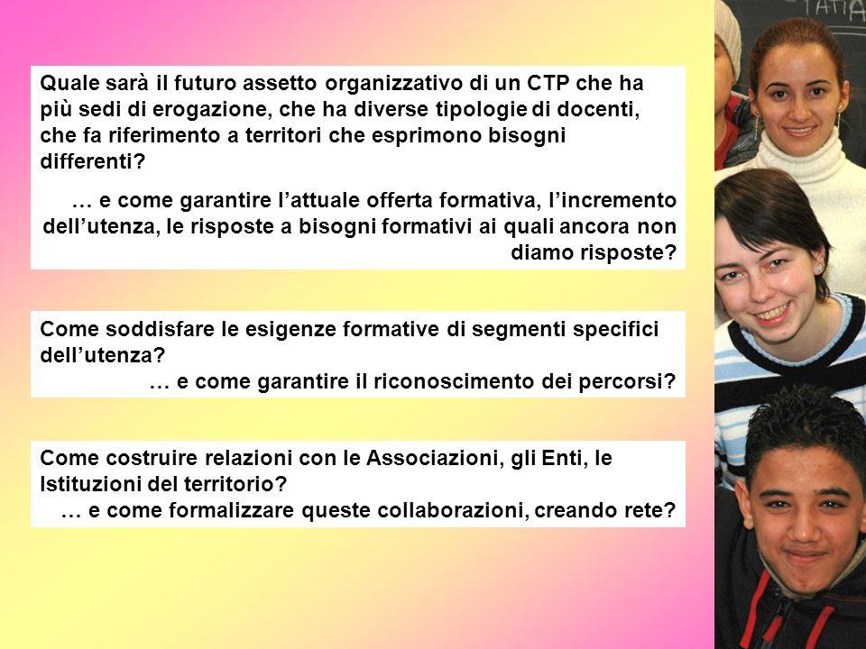 Quale sarà il futuro assetto organizzativo di un CTP che ha più sedi di erogazione, che ha diverse tipologie di docenti, che fa riferimento a territor