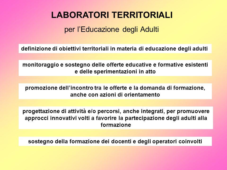 LABORATORI TERRITORIALI per lEducazione degli Adulti definizione di obiettivi territoriali in materia di educazione degli adulti monitoraggio e sosteg