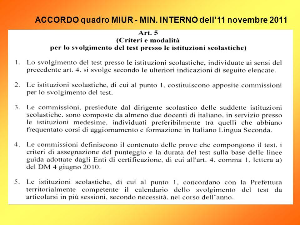ACCORDO quadro MIUR - MIN. INTERNO dell11 novembre 2011