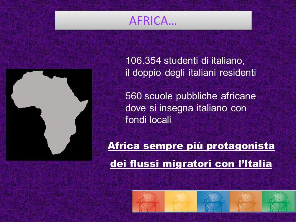 AFRICA… 106.354 studenti di italiano, il doppio degli italiani residenti 560 scuole pubbliche africane dove si insegna italiano con fondi locali Afric