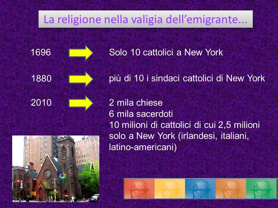 La religione nella valigia dellemigrante... 1696 1880 2010 Solo 10 cattolici a New York più di 10 i sindaci cattolici di New York 2 mila chiese 6 mila