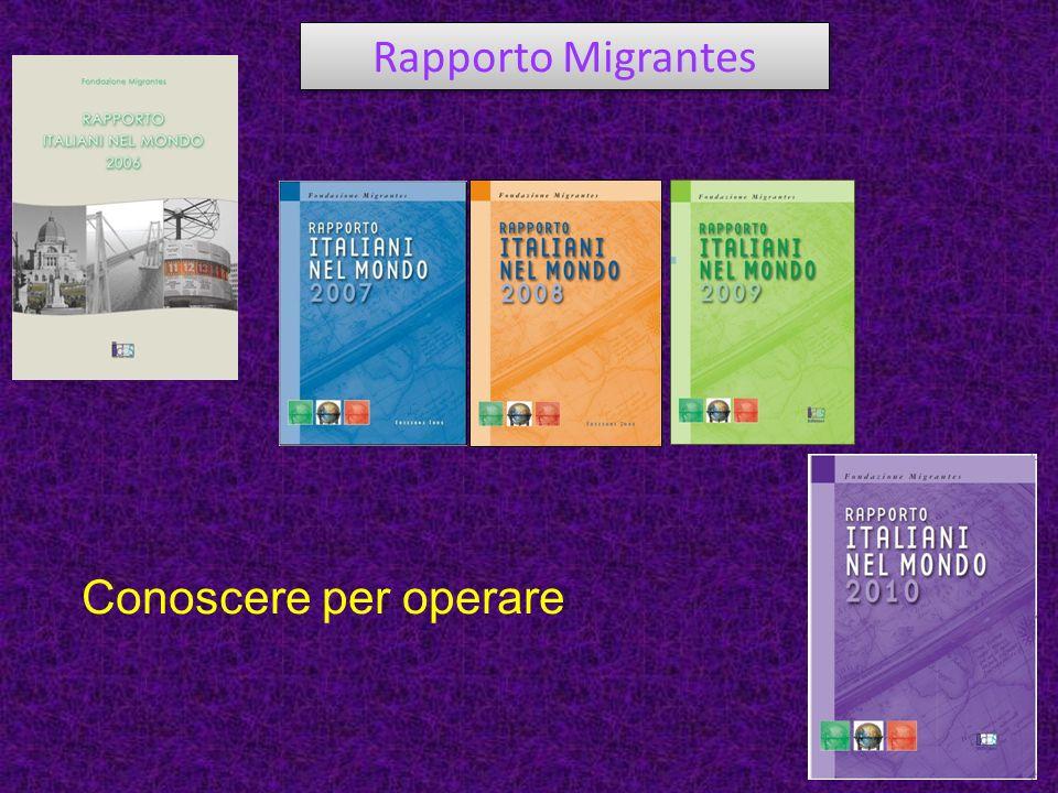 Rapporto Migrantes Conoscere per operare