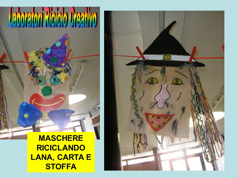 MASCHERE RICICLANDO LANA, CARTA E STOFFA