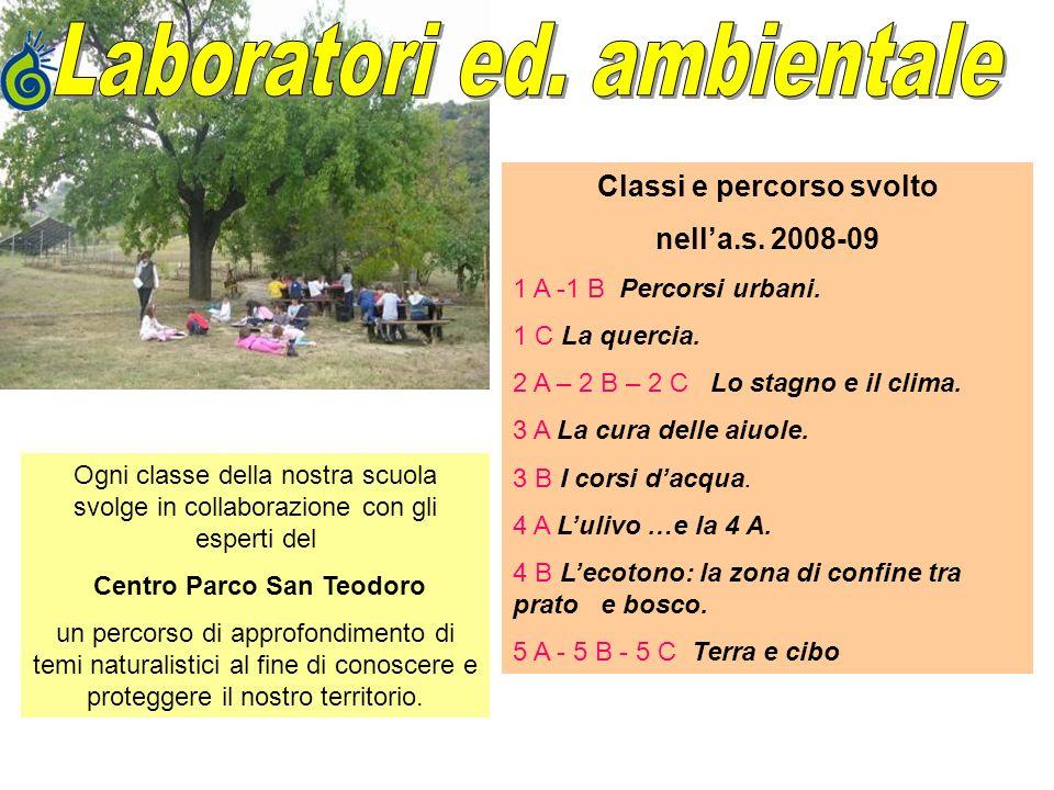 Classi e percorso svolto nella.s. 2008-09 1 A -1 B Percorsi urbani. 1 C La quercia. 2 A – 2 B – 2 C Lo stagno e il clima. 3 A La cura delle aiuole. 3