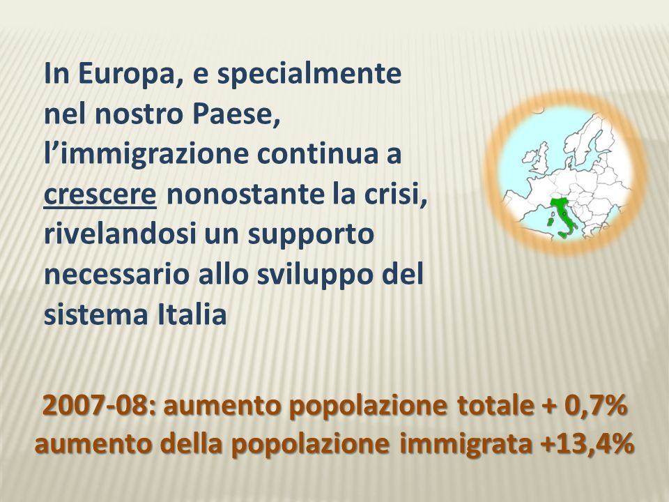 Stranieri residenti in Italia 2.670.514 3.891.295 Aumento nel triennio: + 45,7% NellUE: da 27,1 a 31 milioni (+14,4%)