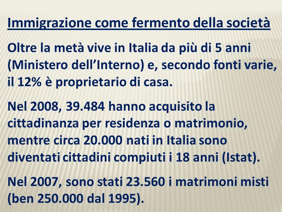 Immigrazione come fermento della società Oltre la metà vive in Italia da più di 5 anni (Ministero dellInterno) e, secondo fonti varie, il 12% è proprietario di casa.