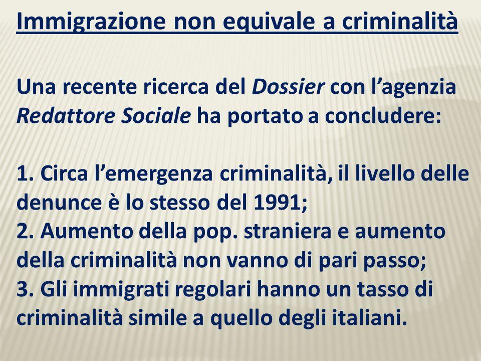 Immigrazione non equivale a criminalità Una recente ricerca del Dossier con lagenzia Redattore Sociale ha portato a concludere: 1.