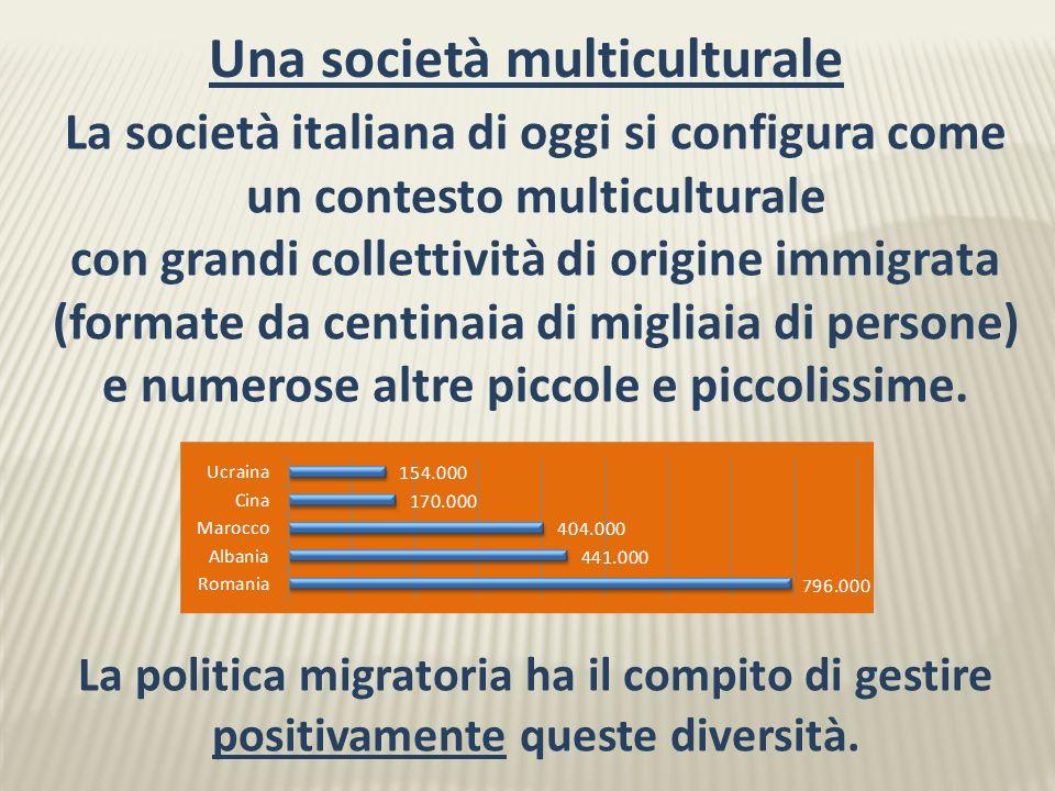 La società italiana di oggi si configura come un contesto multiculturale con grandi collettività di origine immigrata (formate da centinaia di migliaia di persone) e numerose altre piccole e piccolissime.