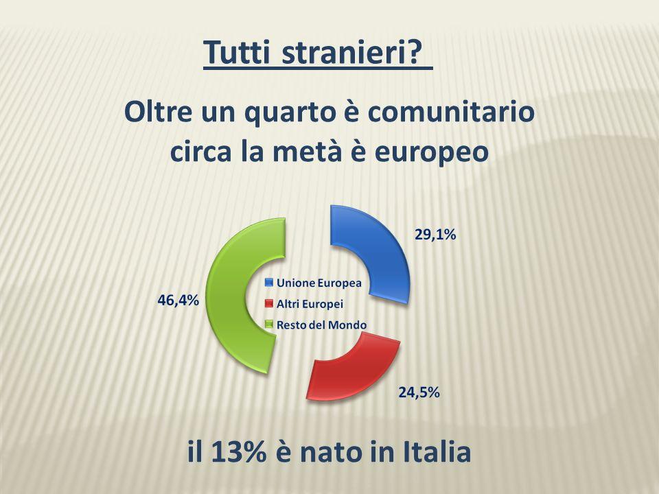 Oltre un quarto è comunitario circa la metà è europeo il 13% è nato in Italia Tutti stranieri