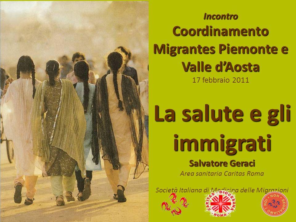 Incontro Coordinamento Migrantes Piemonte e Valle dAosta 17 febbraio 2011 La salute e gli immigrati Salvatore Geraci Area sanitaria Caritas Roma Socie