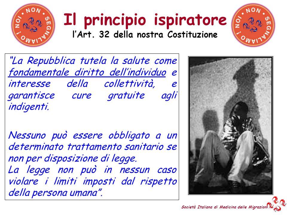 lArt. 32 della nostra Costituzione Il principio ispiratore La Repubblica tutela la salute come fondamentale diritto dellindividuo e interesse della co