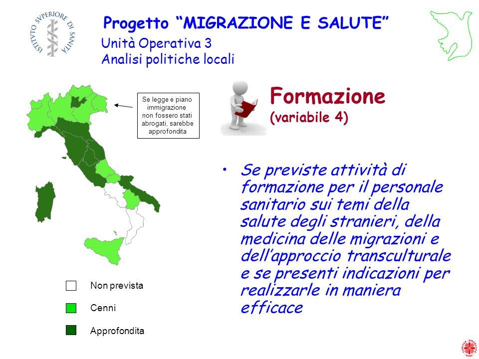 Formazione (variabile 4) Se previste attività di formazione per il personale sanitario sui temi della salute degli stranieri, della medicina delle mig