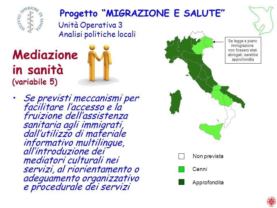 Se previsti meccanismi per facilitare laccesso e la fruizione dellassistenza sanitaria agli immigrati, dallutilizzo di materiale informativo multiling