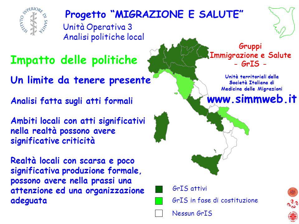 Progetto MIGRAZIONE E SALUTE Unità Operativa 3 Analisi politiche locali GrIS in fase di costituzione GrIS attivi Nessun GrIS Gruppi Immigrazione e Sal