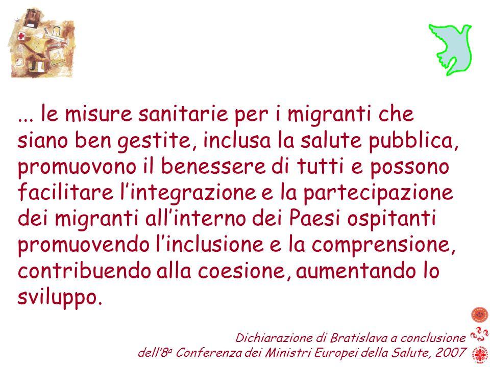 ... le misure sanitarie per i migranti che siano ben gestite, inclusa la salute pubblica, promuovono il benessere di tutti e possono facilitare linteg