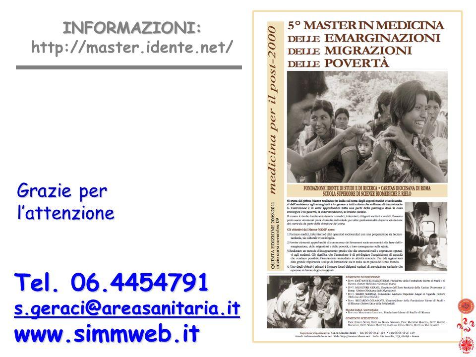 Tel. 06.4454791 s.geraci@areasanitaria.itwww.simmweb.it INFORMAZIONI: INFORMAZIONI: http://master.idente.net/ Grazie per lattenzione