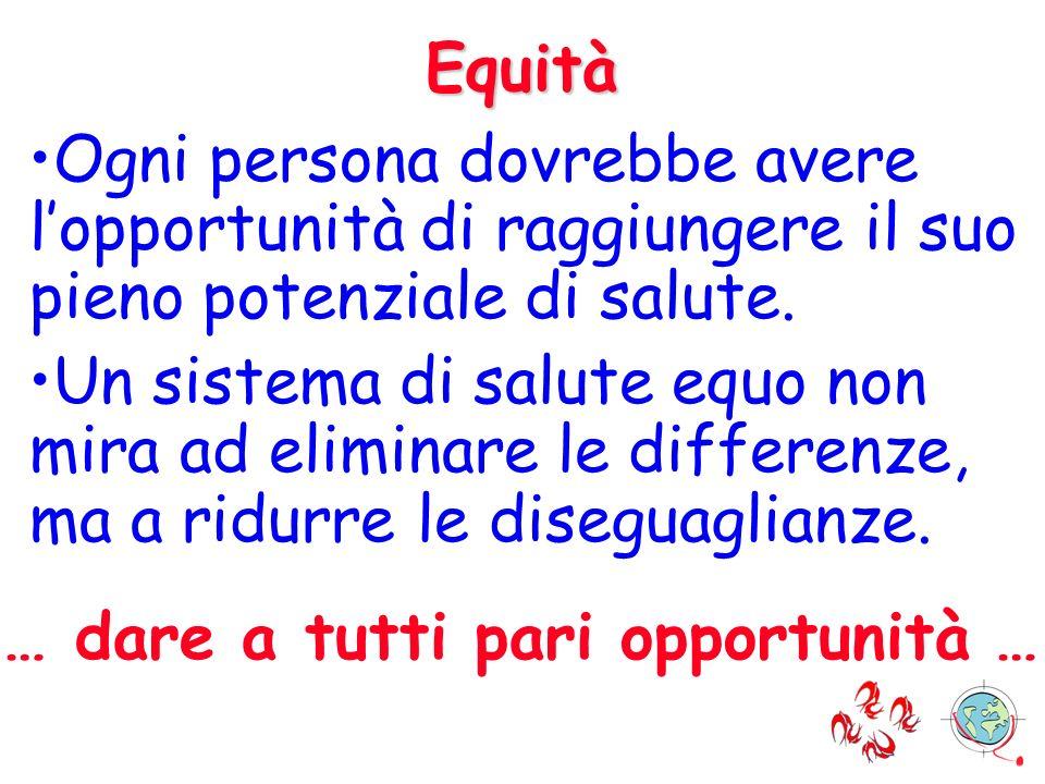 Equità Ogni persona dovrebbe avere lopportunità di raggiungere il suo pieno potenziale di salute. Un sistema di salute equo non mira ad eliminare le d