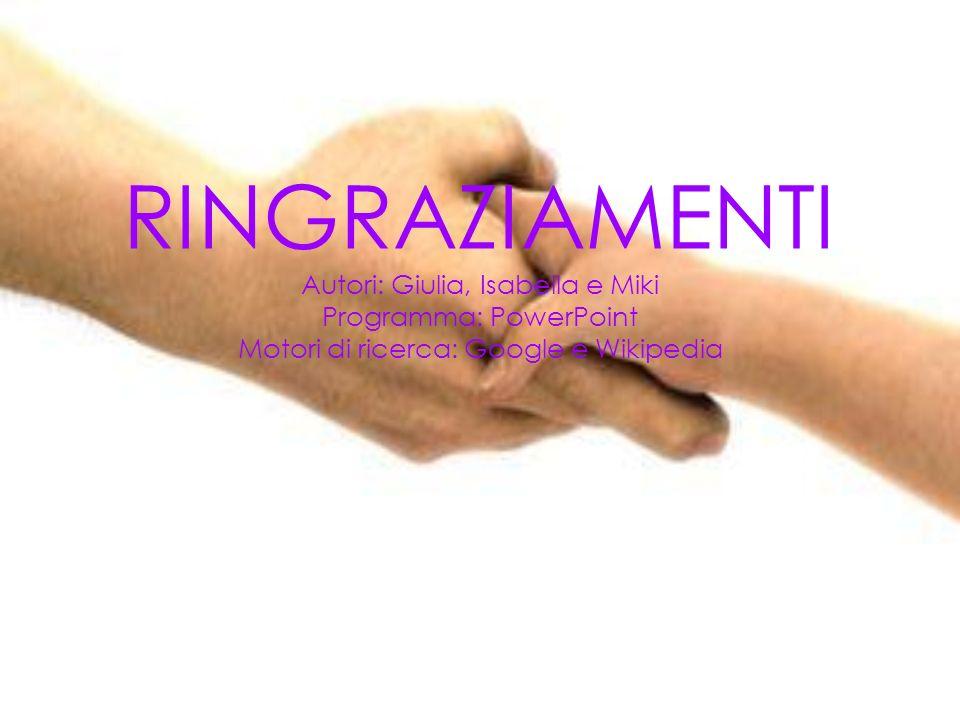 RINGRAZIAMENTI Autori: Giulia, Isabella e Miki Programma: PowerPoint Motori di ricerca: Google e Wikipedia