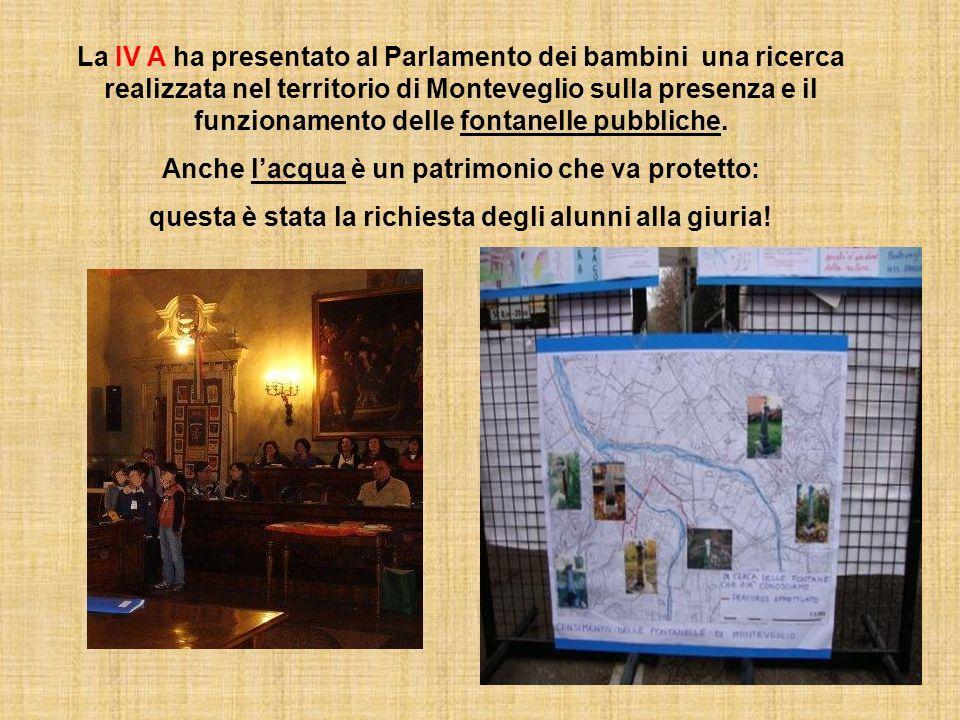 La IV A ha presentato al Parlamento dei bambini una ricerca realizzata nel territorio di Monteveglio sulla presenza e il funzionamento delle fontanelle pubbliche.