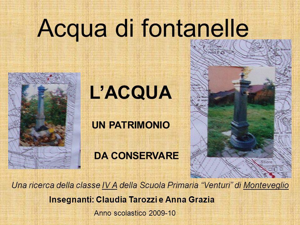 Acqua di fontanelle LACQUA UN PATRIMONIO DA CONSERVARE Una ricerca della classe IV A della Scuola Primaria Venturi di Monteveglio Insegnanti: Claudia