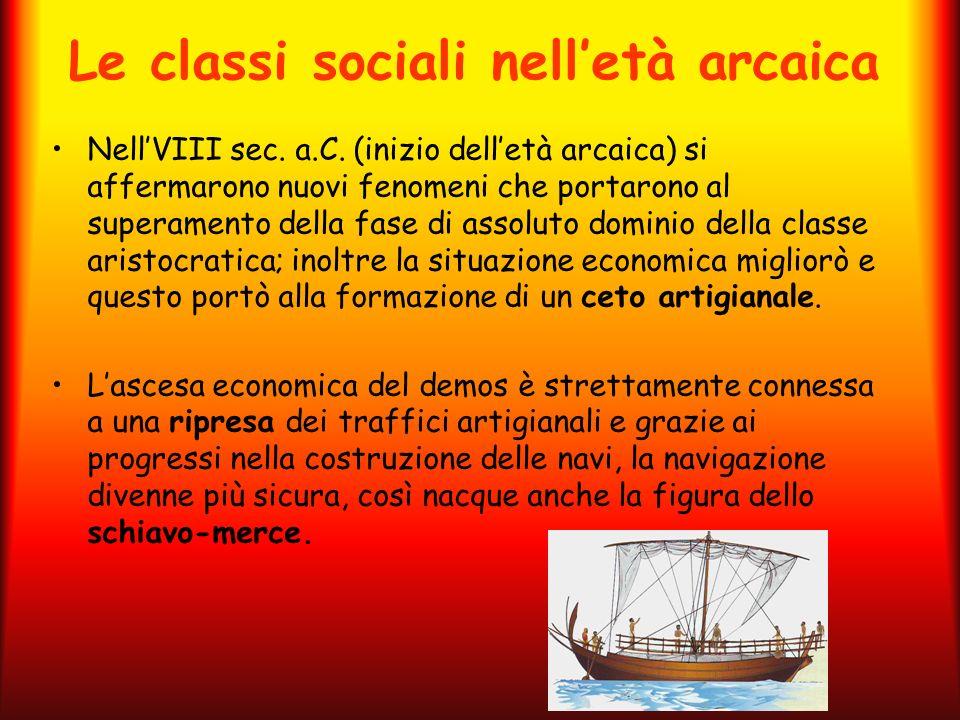 Le classi sociali nelletà arcaica NellVIII sec. a.C. (inizio delletà arcaica) si affermarono nuovi fenomeni che portarono al superamento della fase di