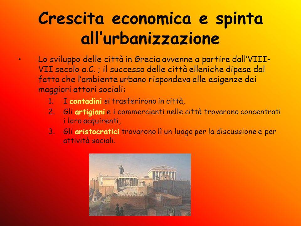 Crescita economica e spinta allurbanizzazione Lo sviluppo delle città in Grecia avvenne a partire dallVIII- VII secolo a.C. ; il successo delle città