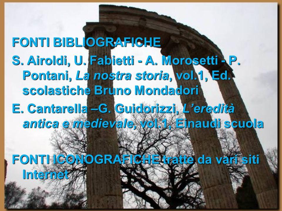 FONTI BIBLIOGRAFICHE S. Airoldi, U. Fabietti - A. Morosetti - P. Pontani, La nostra storia, vol.1, Ed. scolastiche Bruno Mondadori E. Cantarella –G. G