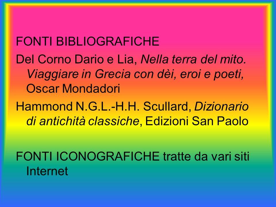 FONTI BIBLIOGRAFICHE Del Corno Dario e Lia, Nella terra del mito. Viaggiare in Grecia con dèi, eroi e poeti, Oscar Mondadori Hammond N.G.L.-H.H. Scull